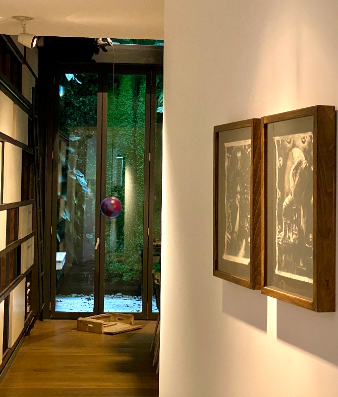 Image of the first artwork purchased at Liste at Füsun Eczacıbaşı's home:  Ian Tweedy, Mucha and Machine (1), 2011. Oil on 18th Century Paper, 23.5 x 35.5 cm and Ian Tweedy, Mucha and Machine (3), 2011. Oil on 18th Century Paper, 23.5 x 35.5 cm, Credit: Füsun Eczacıbaşı